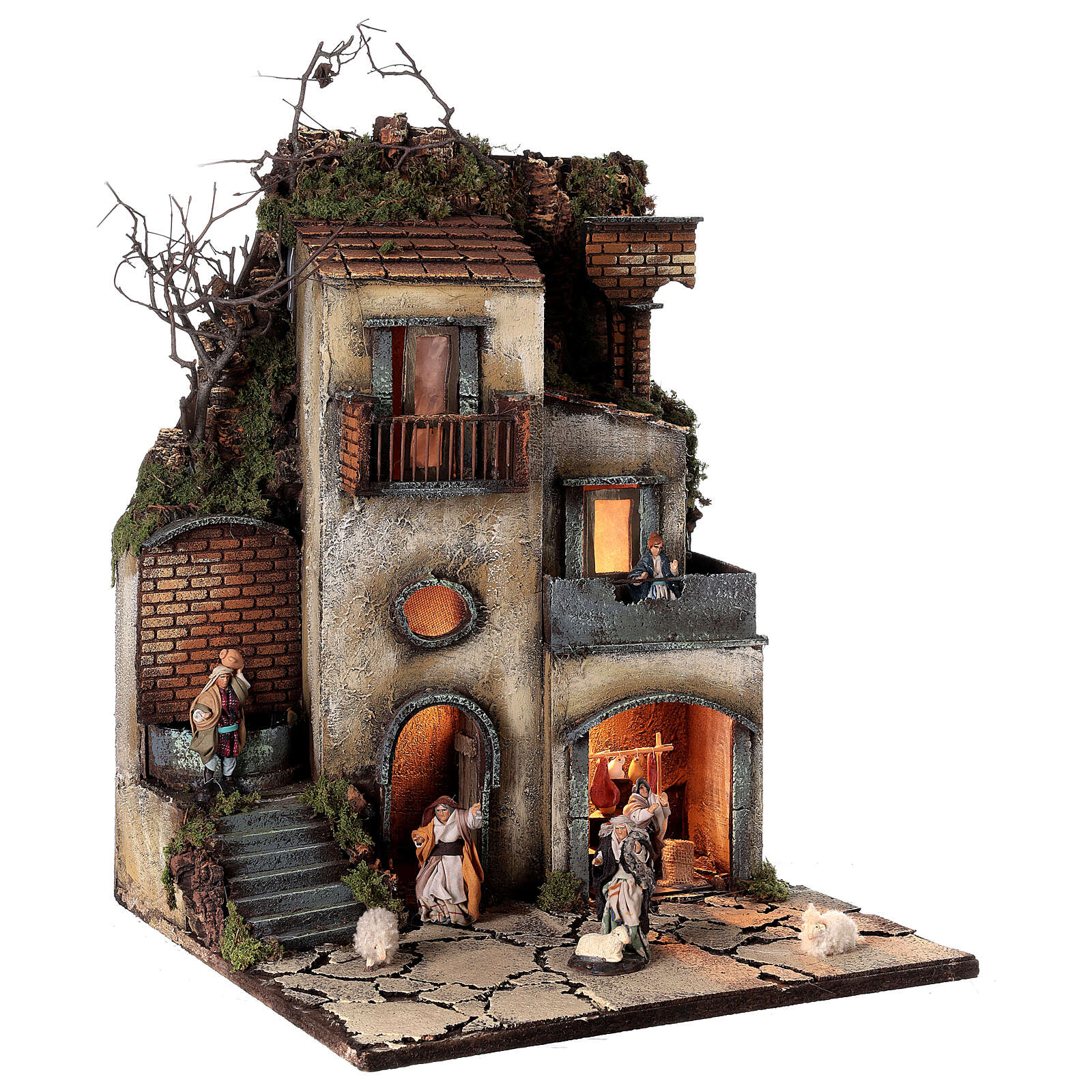 Neapolitan nativity village with 8 cm figures 55x40x40 module 1 4