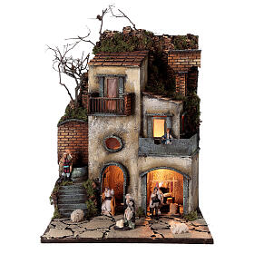 Neapolitan nativity village with 8 cm figures 55x40x40 module 1 s1