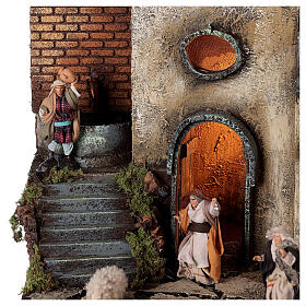 Neapolitan nativity village with 8 cm figures 55x40x40 module 1 s4