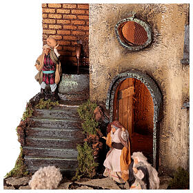 Neapolitan nativity village with 8 cm figures 55x40x40 module 1 s6
