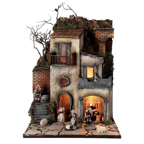 Neapolitan nativity village with 8 cm figures 55x40x40 module 1 1