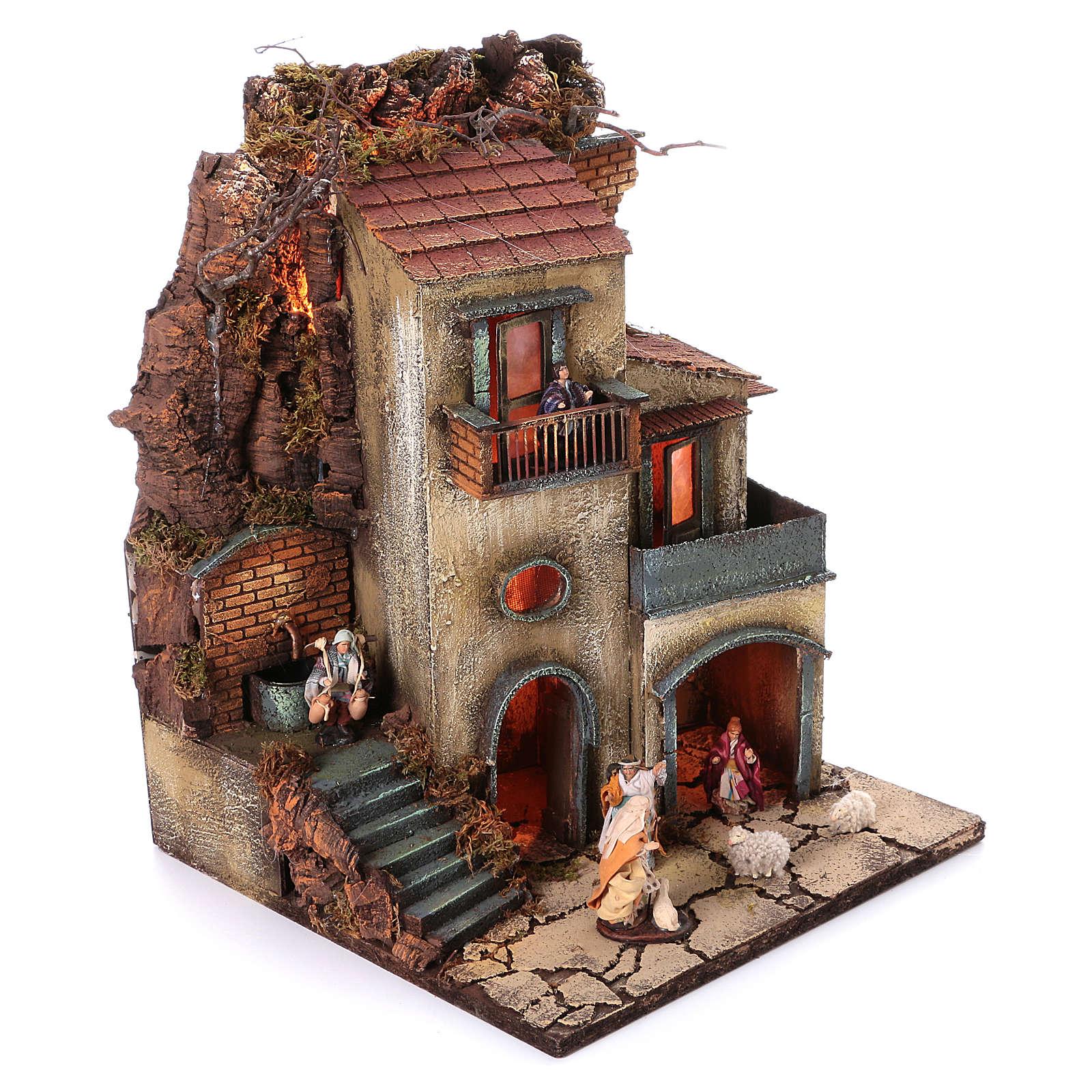 Borgo presepe napoletano 55x40x40 cm modulo 1 4
