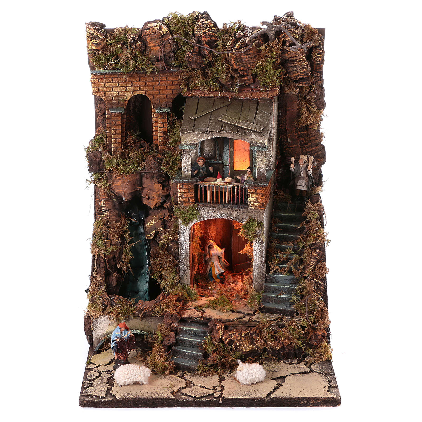 Neapolitan nativity village with 8 cm figures and waterfall 55x40x40 module 2 4