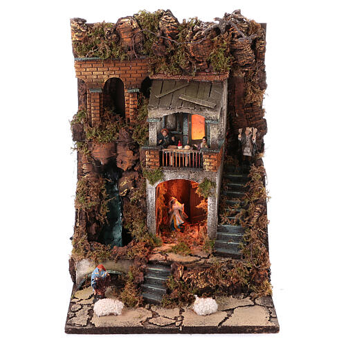 Neapolitan nativity village with 8 cm figures and waterfall 55x40x40 module 2 1