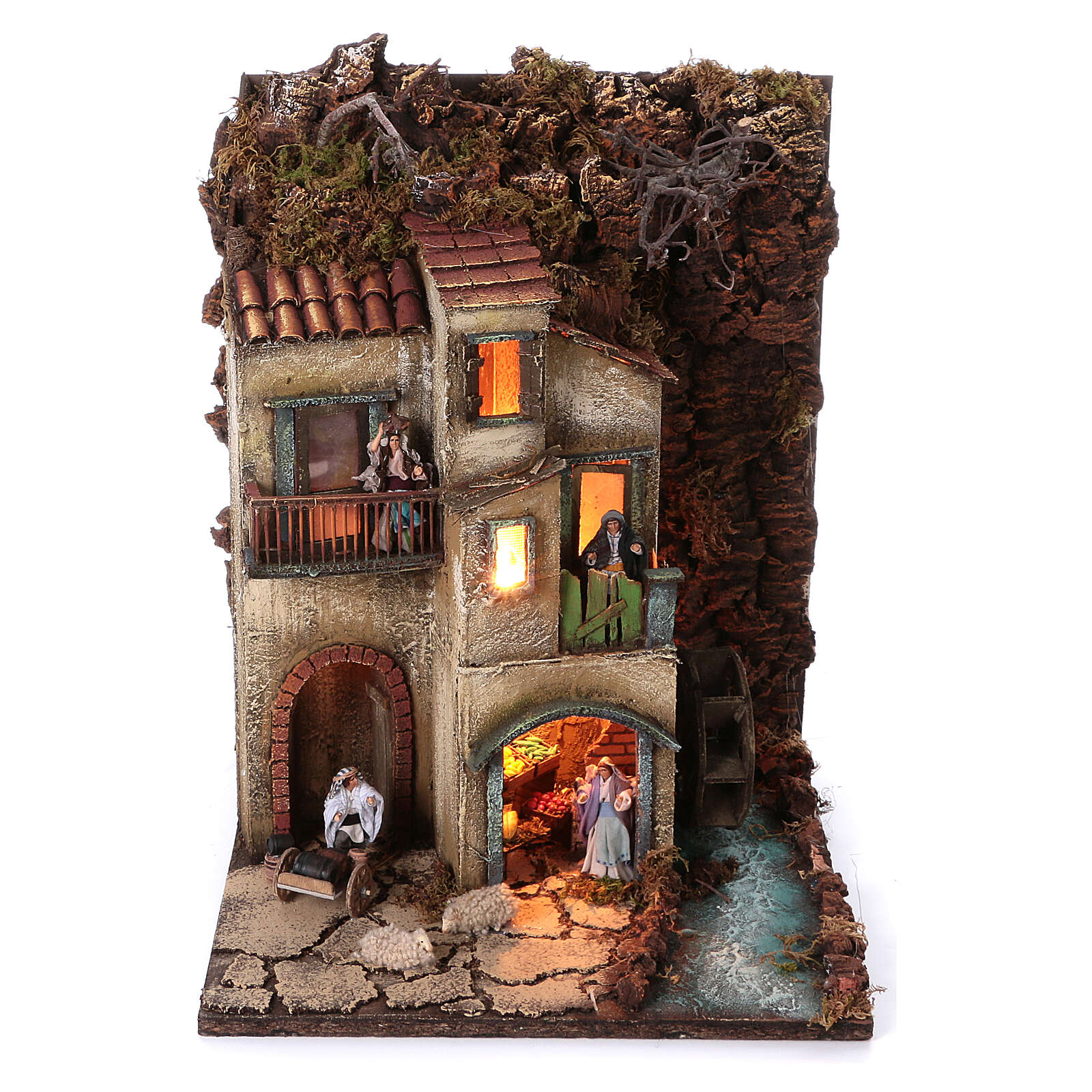 Neapolitan nativity village with 8 cm figures and watermill 55x40x40 module 3 4