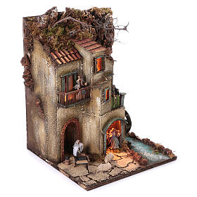 Neapolitan nativity village with 8 cm figures and watermill 55x40x40 module 3 s3