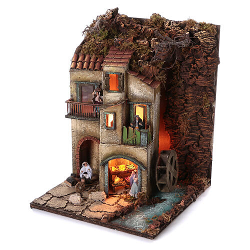Neapolitan nativity village with 8 cm figures and watermill 55x40x40 module 3 2