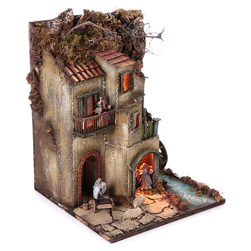 Neapolitan nativity village with 8 cm figures and watermill 55x40x40 module 3 3