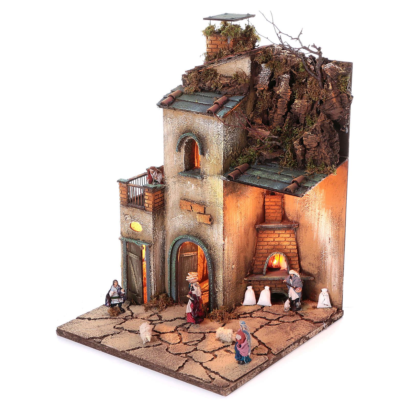 Krippenszenerie neapolitanisches Dorf mit Ofen mit ECHTRAUCHEFFEKT, 55x40x40 cm, Modul 4, für 8 cm Figuren 4