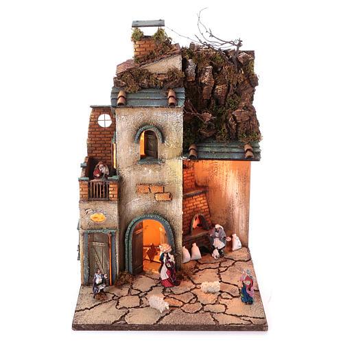 Krippenszenerie neapolitanisches Dorf mit Ofen mit ECHTRAUCHEFFEKT, 55x40x40 cm, Modul 4, für 8 cm Figuren 1