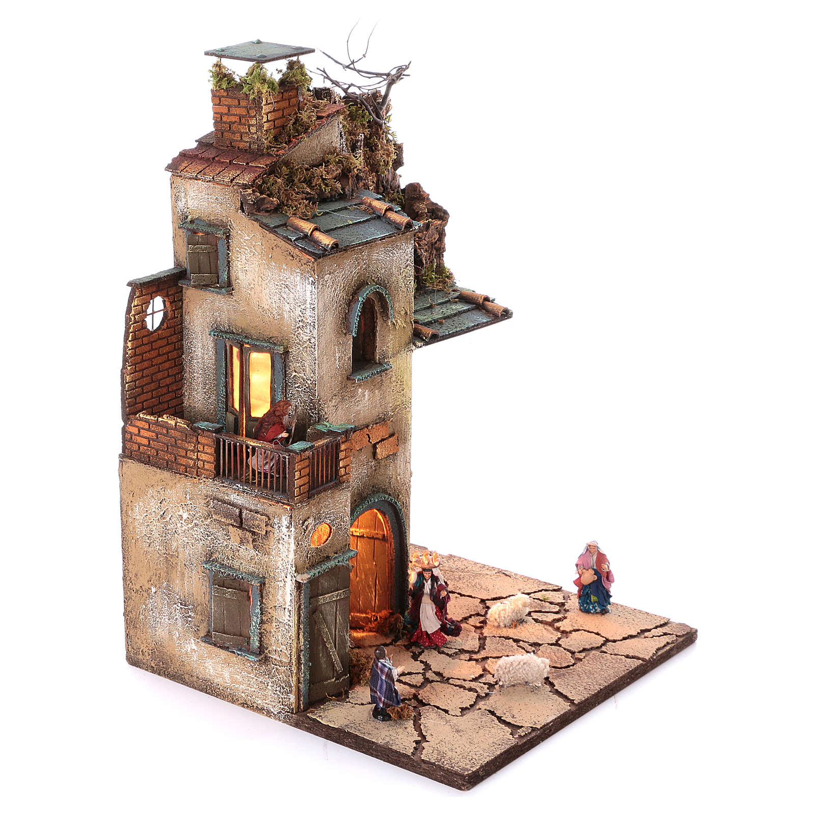 Neapolitan nativity village with 8 cm figures and oven 55x40x40 module 4 4