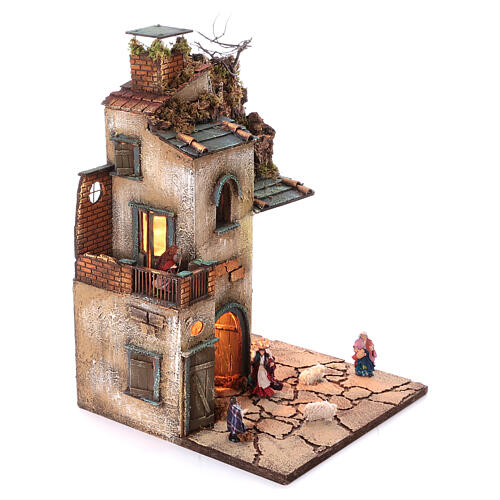 Neapolitan nativity village with 8 cm figures and oven 55x40x40 module 4 3