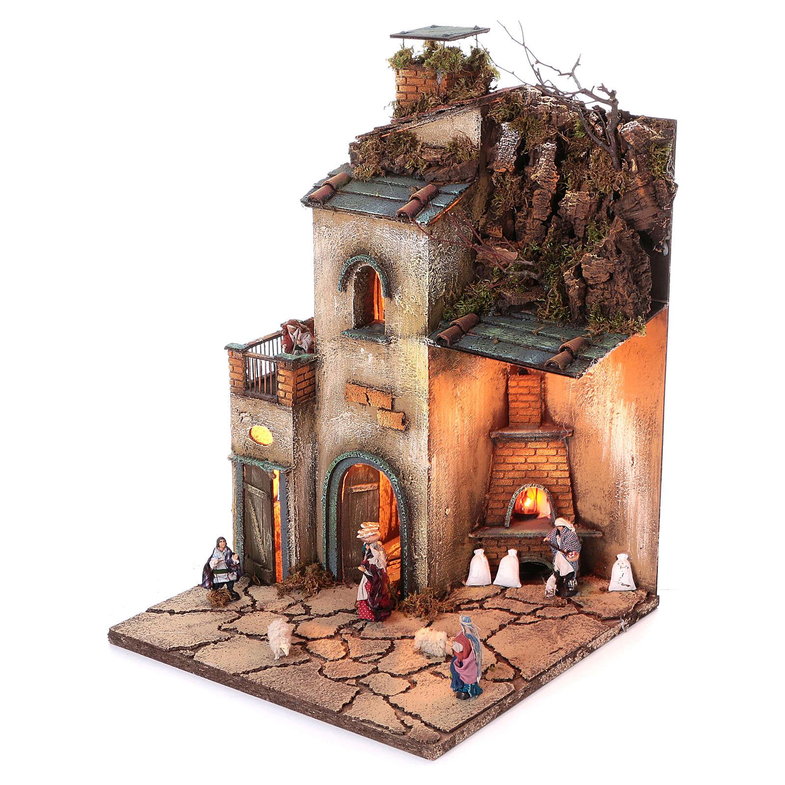 Neapolitan nativity village 8 cm figures with oven 55x40x40 module 4 4