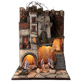 Krippenszenerie neapolitanisches Dorf mit Brunnen und Windmühle, 55x40x40 cm, Modul 5, für 8 cm Figuren s1