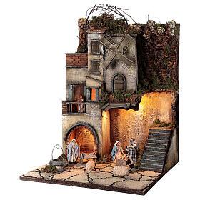 Krippenszenerie neapolitanisches Dorf mit Brunnen und Windmühle, 55x40x40 cm, Modul 5, für 8 cm Figuren s3