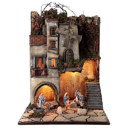 Krippenszenerie neapolitanisches Dorf mit Brunnen und Windmühle, 55x40x40 cm, Modul 5, für 8 cm Figuren 1