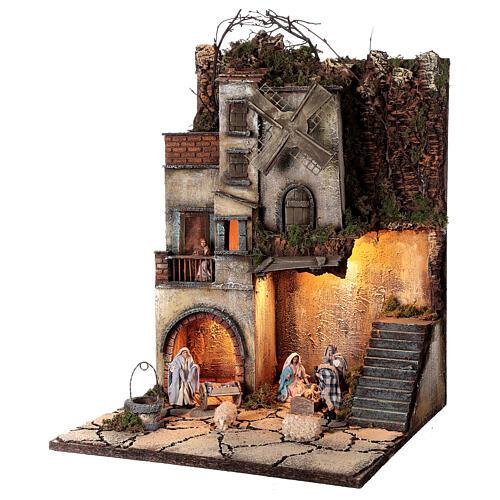Krippenszenerie neapolitanisches Dorf mit Brunnen und Windmühle, 55x40x40 cm, Modul 5, für 8 cm Figuren 3