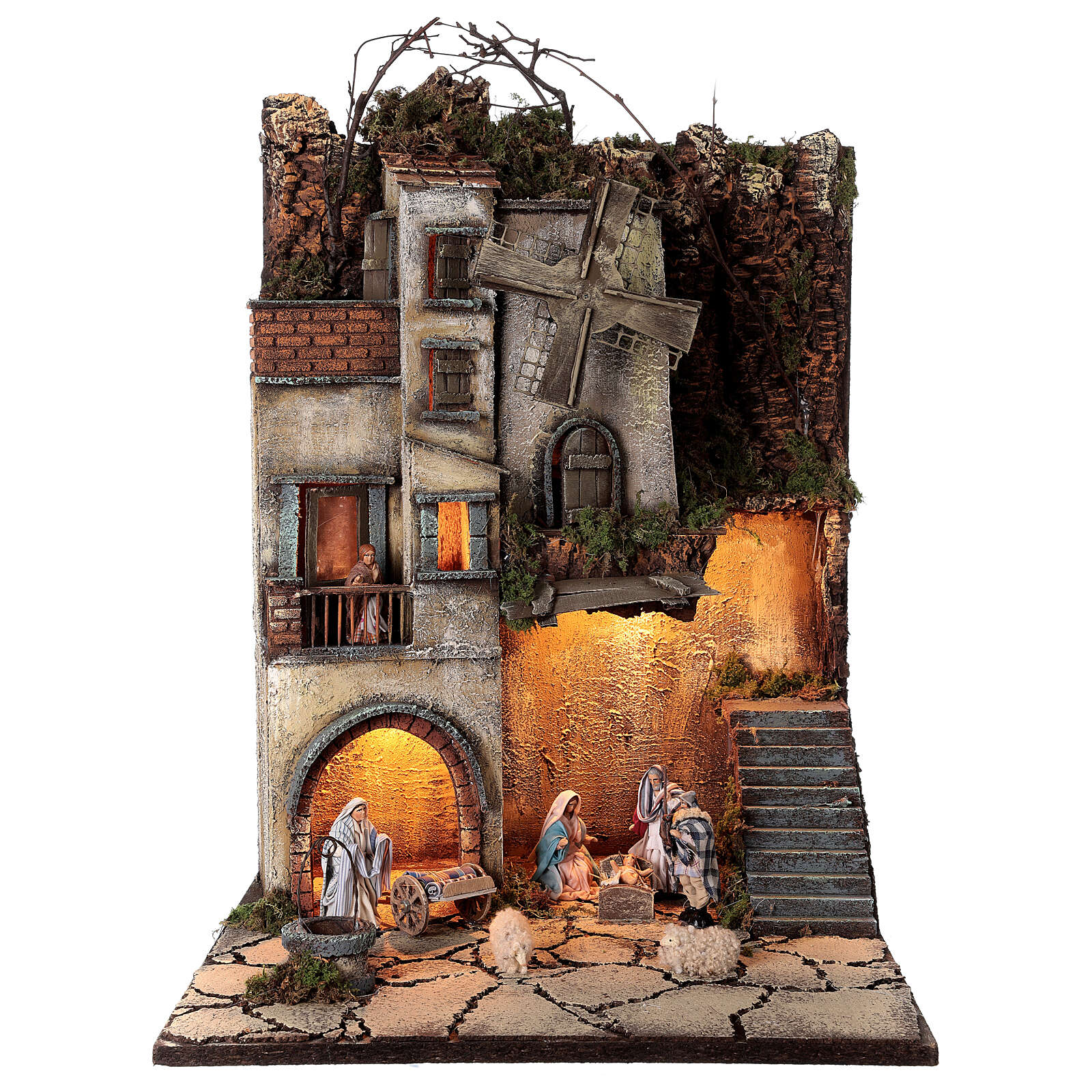 Neapolitan nativity village with 8 cm figures and well 55x40x40 module 5 4