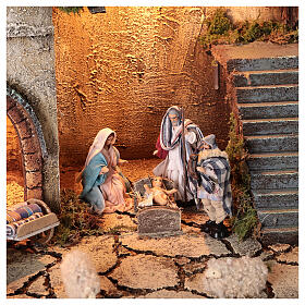 Neapolitan nativity village with 8 cm figures and well 55x40x40 module 5 s2