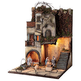 Neapolitan nativity village with 8 cm figures and well 55x40x40 module 5 s3