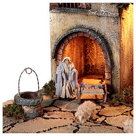 Neapolitan nativity village with 8 cm figures and well 55x40x40 module 5 s4