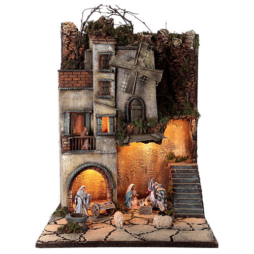 Neapolitan nativity village with 8 cm figures and well 55x40x40 module 5 1