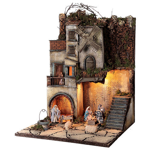 Neapolitan nativity village with 8 cm figures and well 55x40x40 module 5 3