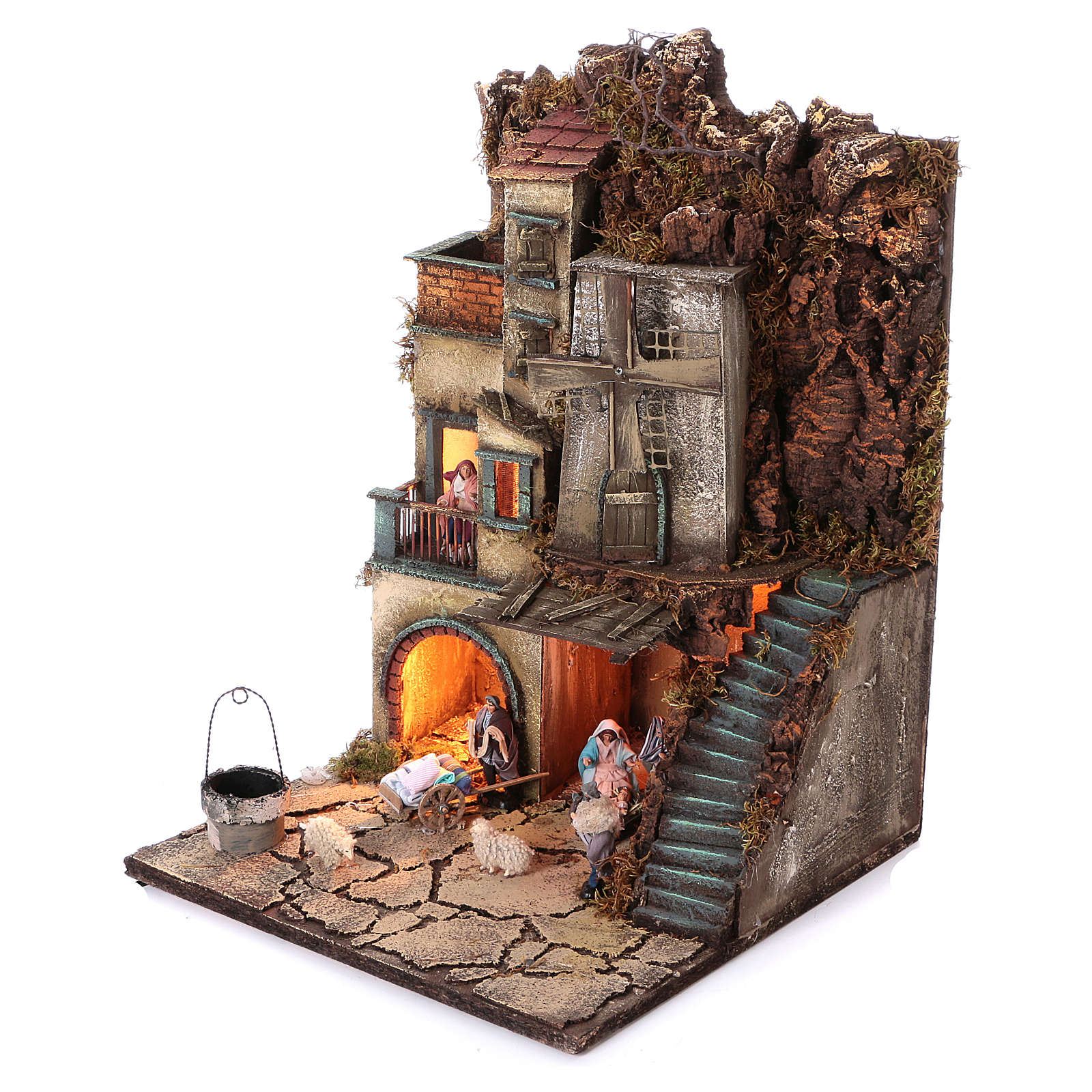 Pueblo con natividad pozo y molino 55x40x40 cm módulo 5 4