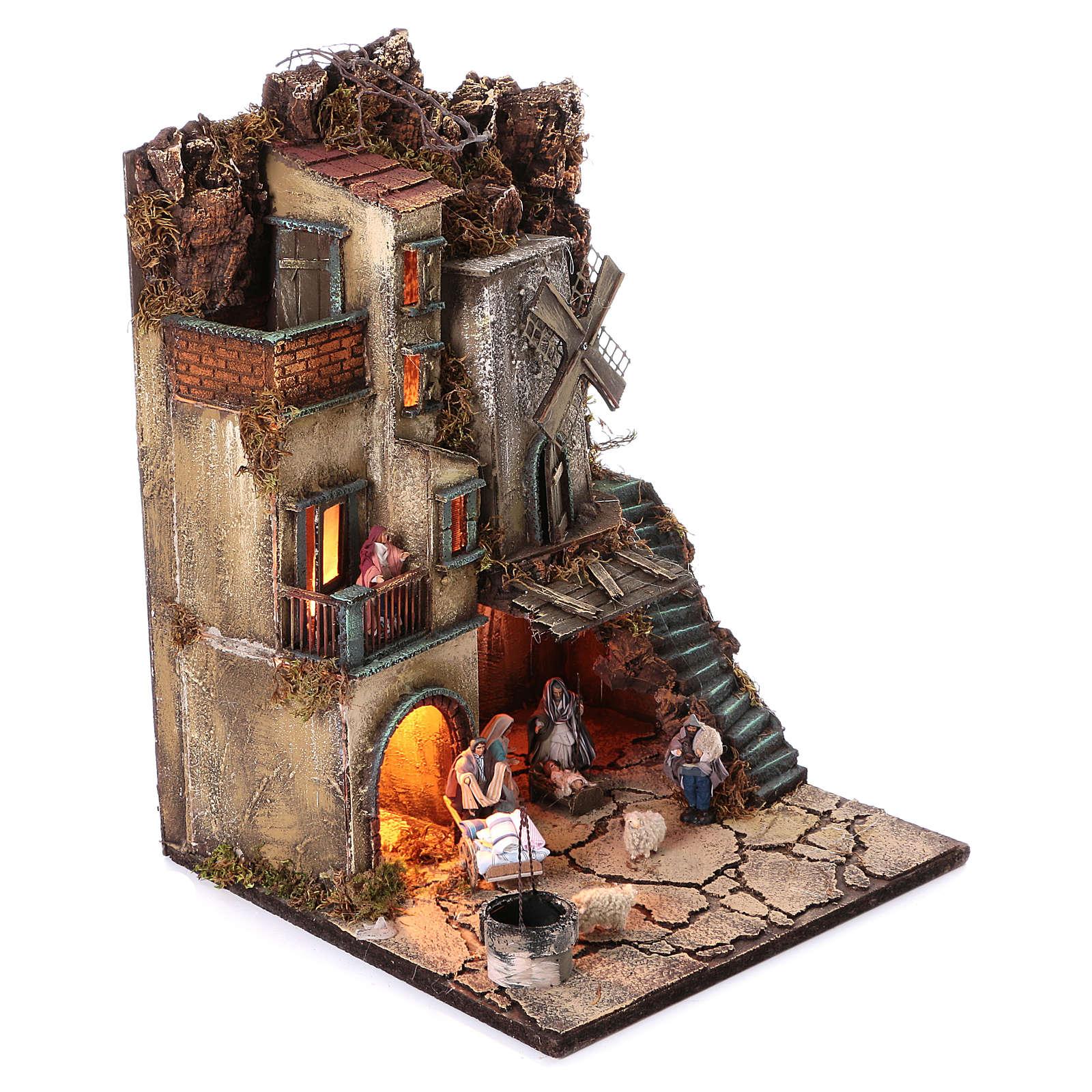 Bourgade avec Nativité puits et moulin à vent crèche napolitaine 8 cm 55x40x40 cm module 5 4