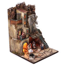 Bourgade avec Nativité puits et moulin à vent crèche napolitaine 8 cm 55x40x40 cm module 5 s3