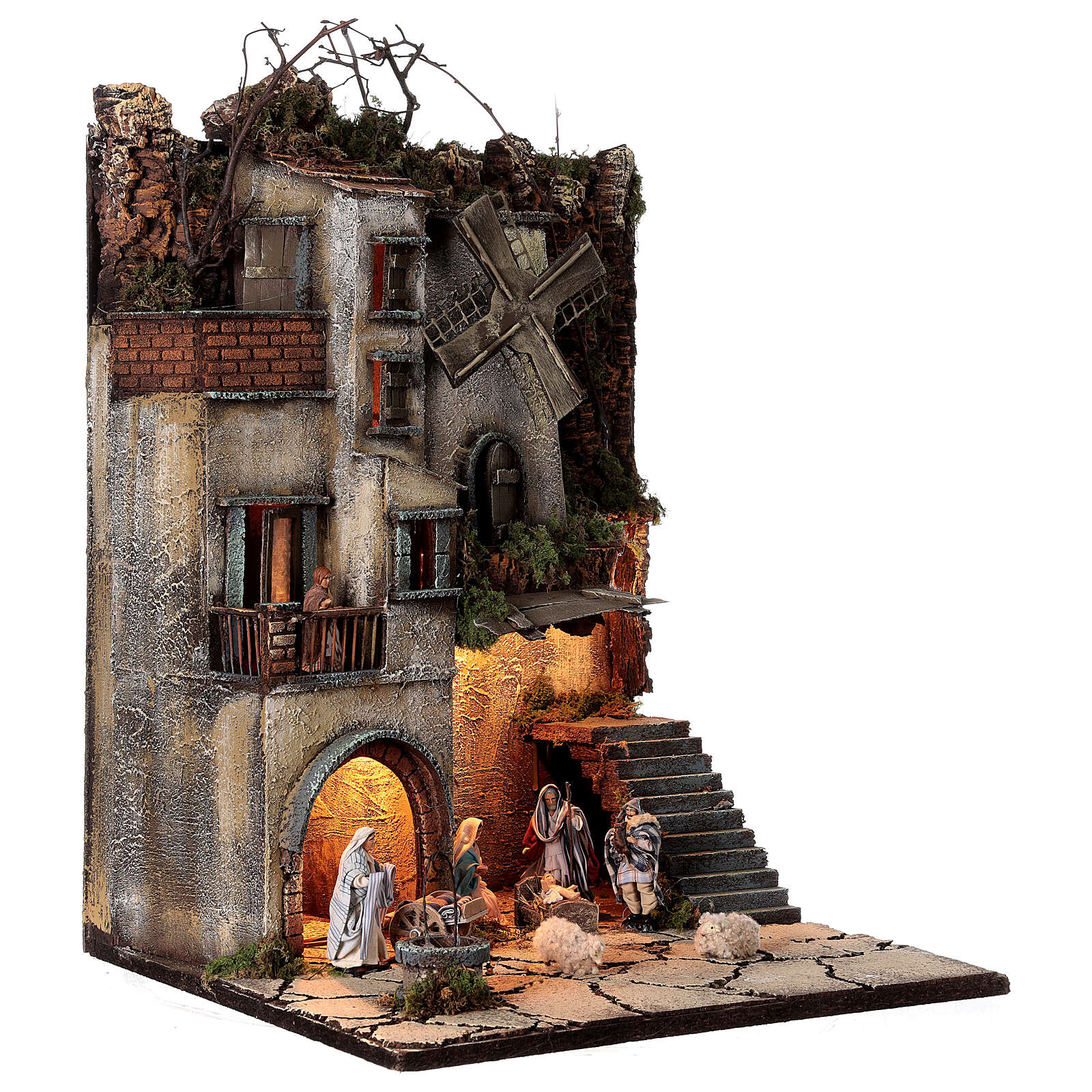 Borgo natività pozzo mulino 55x40x40 cm mod. 5 con statue 4
