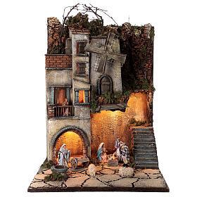 Borgo natività pozzo mulino 55x40x40 cm mod. 5 con statue s1