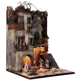 Borgo natività pozzo mulino 55x40x40 cm mod. 5 con statue s5