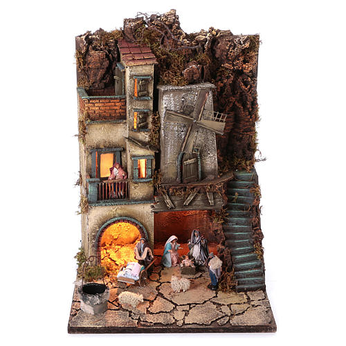 Borgo natività pozzo mulino 55x40x40 cm mod. 5 con statue 1