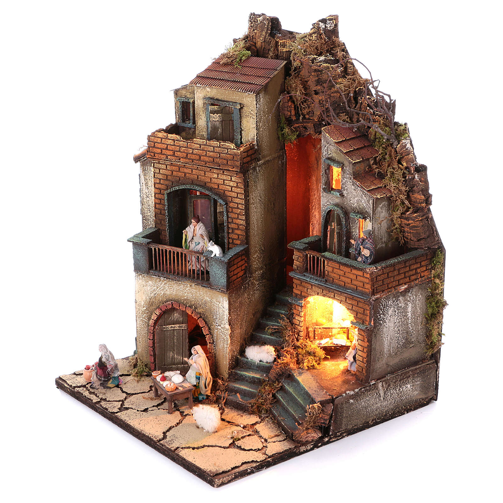 Neapolitan nativity village with 8 cm figures and fountain 55x40x40 module 6 4