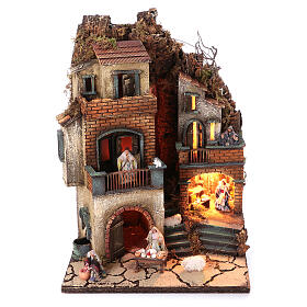 Neapolitan nativity village with 8 cm figures and fountain 55x40x40 module 6 s1