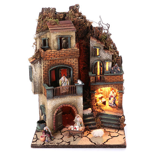 Neapolitan nativity village with 8 cm figures and fountain 55x40x40 module 6 1