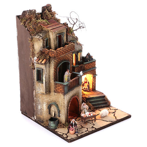 Neapolitan nativity village with 8 cm figures and fountain 55x40x40 module 6 3