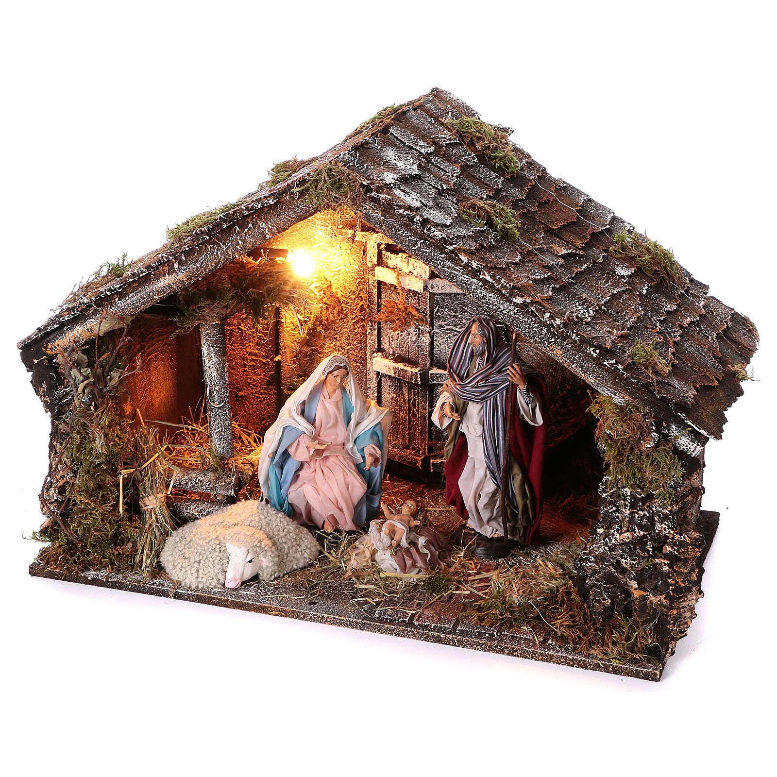 Cabaña con Natividad de madera 22 cm belén napolitano 45x65x35 cm 4