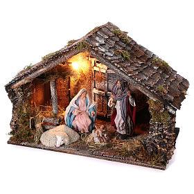 Cabaña con Natividad de madera 22 cm belén napolitano 45x65x35 cm s2