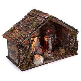 Cabaña con Natividad de madera 22 cm belén napolitano 45x65x35 cm s3