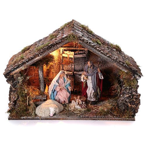 Cabaña con Natividad de madera 22 cm belén napolitano 45x65x35 cm 1