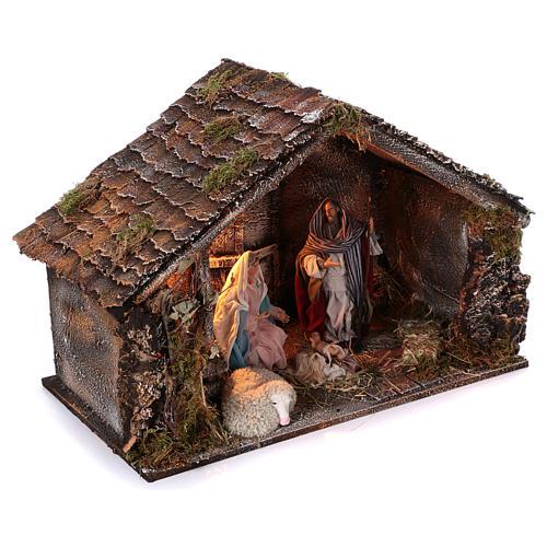 Cabaña con Natividad de madera 22 cm belén napolitano 45x65x35 cm 3