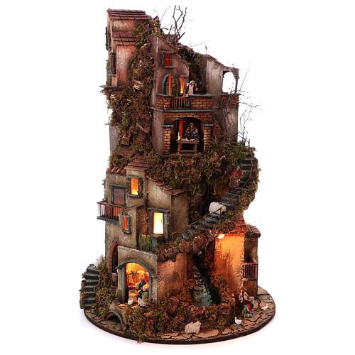 Torre circolare completa di statuine presepe napoletano 90x60 cm 5