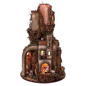 Presépio Napolitano: Aldeia Torre com base circular e figuras do presépio napolitano 90x60 cm