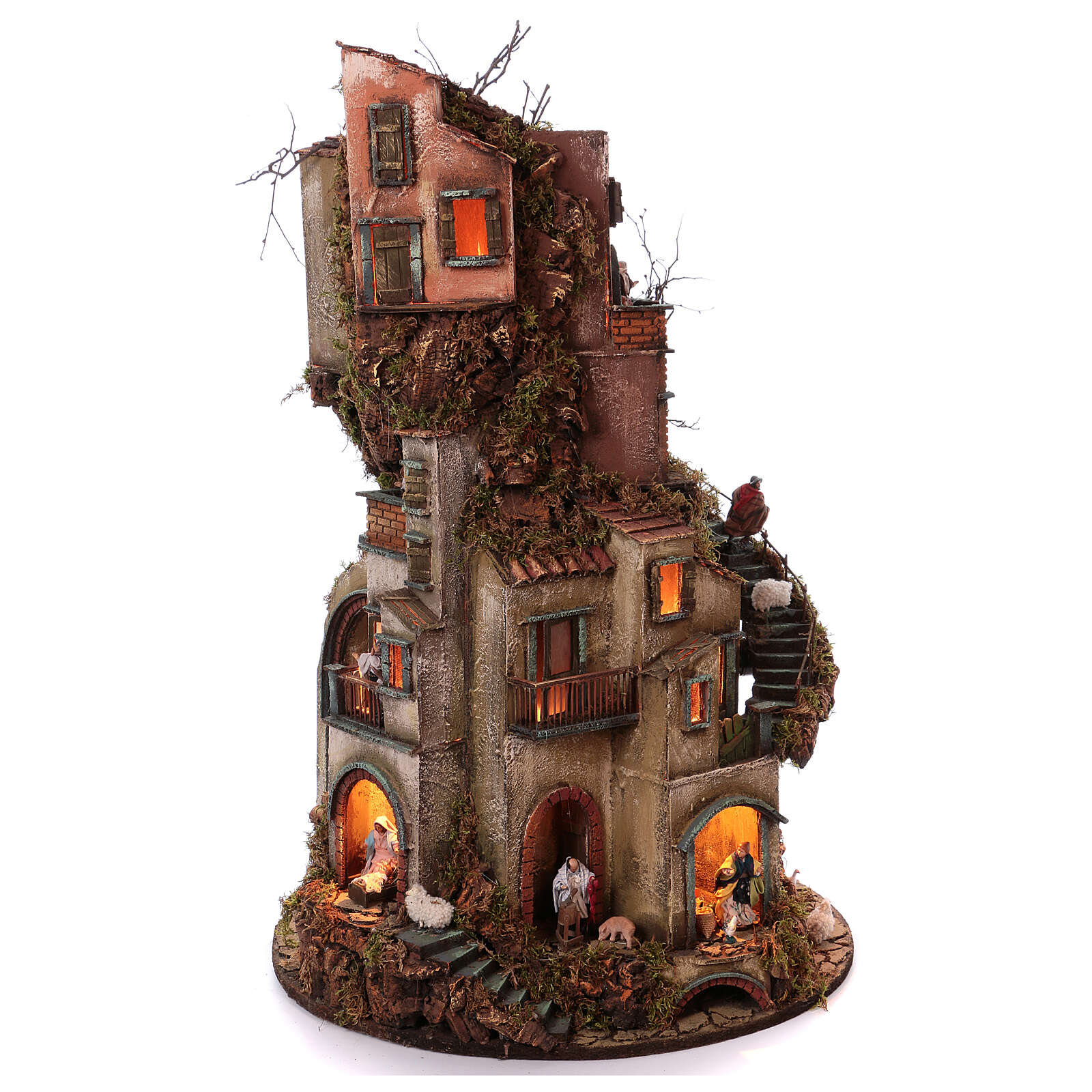 Circular tower with Nativity figures 90x60 cm 4