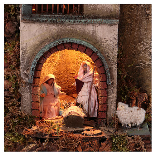 Circular tower with Nativity figures 90x60 cm 2