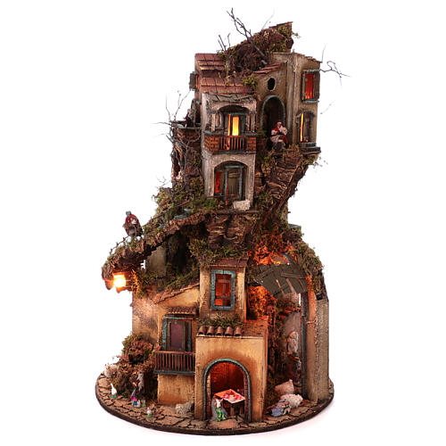 Circular tower with Nativity figures 90x60 cm 7