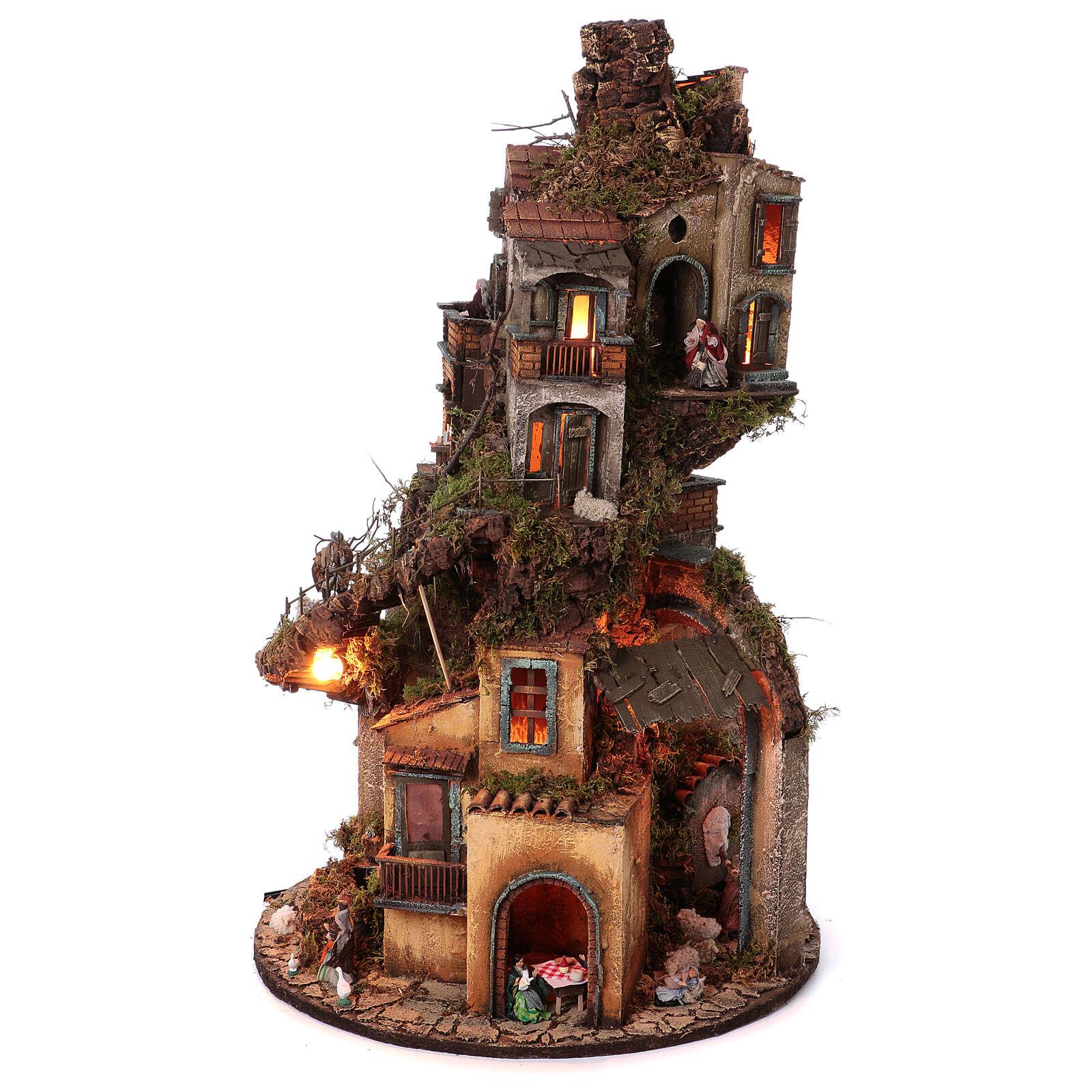 Tower Neapolitan nativity village 90x60 cm circular, for 10 cm nativity 4