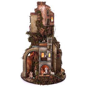 Tower Neapolitan nativity village 90x60 cm circular, for 10 cm nativity s1